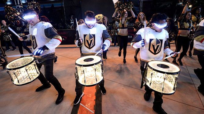 LAS VEGAS, NV - FEBRUARY 28: Members of the Vegas Golden Knights Knight Line Drumbots perform during the Ultimate Sports Weekend Pep Rally at Toshiba Plaza on February 28, 2018 in Las Vegas, Nevada. (Photo by Brandon Magnus/Zuffa LLC)