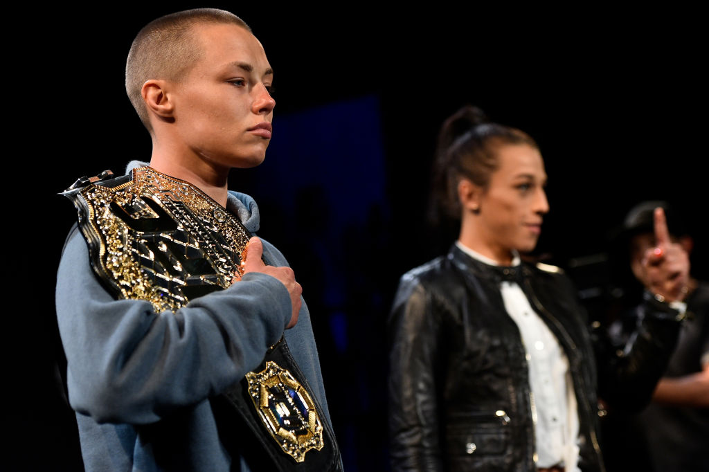 Namajunas and Jedrzejczyk at  the UFC 223 Press Conference on April 4, 2018 in Brooklyn, NY. (Photo by Brandon Magnus/Zuffa LLC)