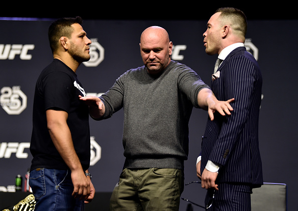 BROOKLYN, NEW YORK - APRIL 06: (L-R) Opponents Rafael dos Anjos and Colby Covington face off during the UFC press conference inside Barclays Center on April 6, 2018 in Brooklyn, New York. (Photo by Jeff Bottari/Zuffa LLC/Zuffa LLC via Getty Images)