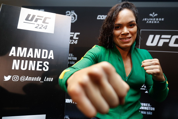 RIO DE JANEIRO, BRAZIL - MAY 10: UFC women's bantamweight champion Amanda Nunes of Brazil poses for a photo during Ultimate Media Day on May 10, 2018 in Rio de Janeiro, Brazil. (Photo by Buda Mendes/Zuffa LLC/Zuffa LLC via Getty Images)