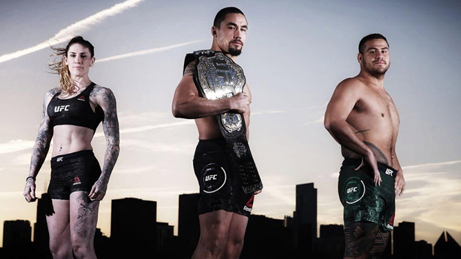"From left to right: <a href='../fighter/megan-anderson'></noscript>Megan Anderson</a>, <a href='../fighter/robert-whittaker'>Robert Whittaker</a>, <a href='../fighter/Tai-Tuivasa'>Tai Tuivasa</a>&#8221; align=&#8221;center&#8221;/><br />The photograph of Robert Whittaker, Tai Tuivasa and Megan Anderson taken by The Daily Telegraph before UFC 225 in Chicago was titled ""The Takeover.""</p> <p>They weren't kidding.</p> <p>New Zealand-born Aussie Whittaker, the middleweight champion of the world and the first fighter from Down Under to hold a UFC crown, won an instant classic over <a href="