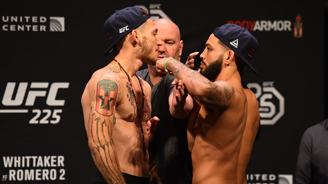CHICAGO, ILLINOIS - JUNE 08:  (L-R) Opponents Mike Santiago and Dan Ige face off during the UFC 225 weigh-in at the United Center on June 8, 2018 in Chicago, Illinois. (Photo by Josh Hedges/Zuffa LLC/Zuffa LLC via Getty Images)