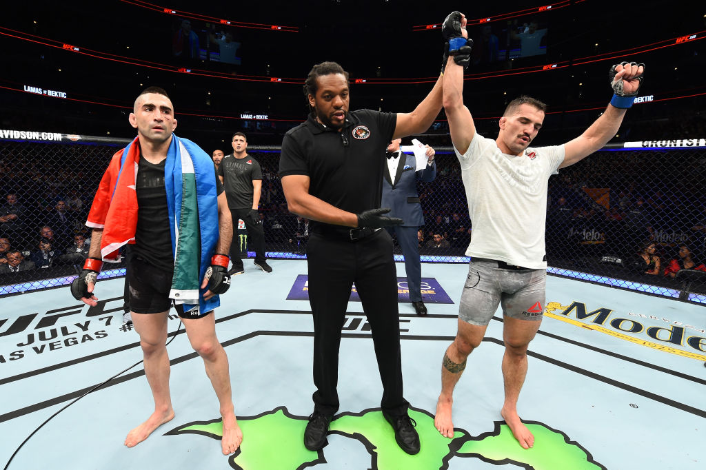 CHICAGO, ILLINOIS - JUNE 09:  (R-L) Mirsad Bektic of Bosnia celebrates after defeating Ricardo Lamas in their featherweight fight during the UFC 225 event at the United Center on June 9, 2018 in Chicago, Illinois. (Photo by Josh Hedges/Zuffa LLC/Zuffa LLC via Getty Images)