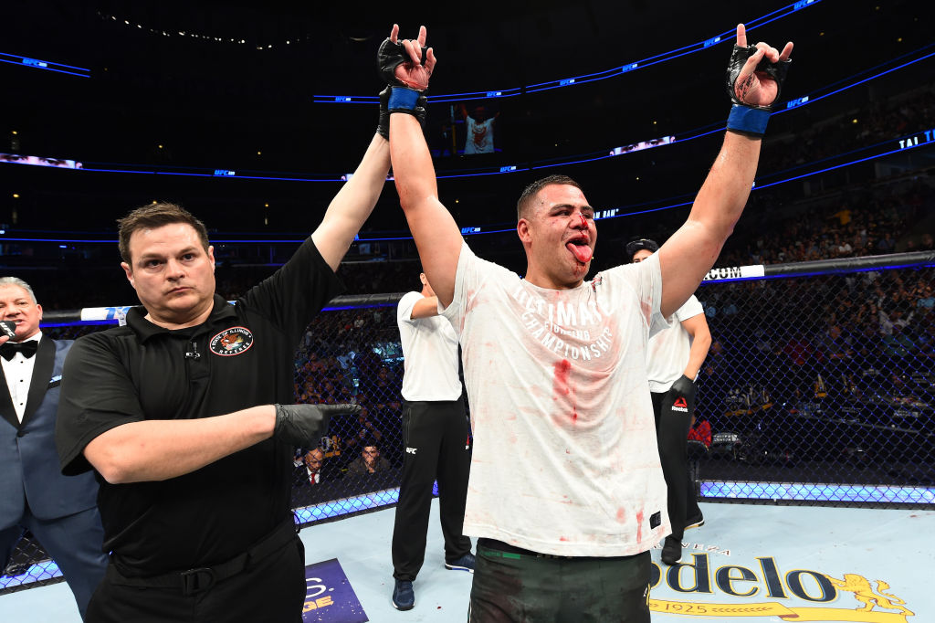 CHICAGO, ILLINOIS - JUNE 09:  Tai Tuivasa of Australia celebrates after defeating Andrei Arlovski of Belarus in their heavyweight fight during the UFC 225 event at the United Center on June 9, 2018 in Chicago, Illinois. (Photo by Josh Hedges/Zuffa LLC/Zuffa LLC via Getty Images)