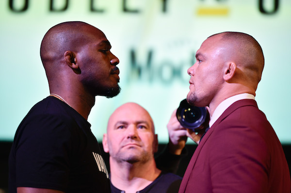 LAS VEGAS, NEVADA - JANUARY 31: <a href='../fighter/jon-jones'>Jon Jones</a> and <a href='../fighter/anthony-smith'>Anthony Smith</a> face off during the UFC 235 Press Conference inside the David Copperfield Theater at MGM Grand on January 31, 2019 in Las Vegas, Nevada. (Photo by Chris Unger/Zuffa LLC/Zuffa LLC via Getty Images)