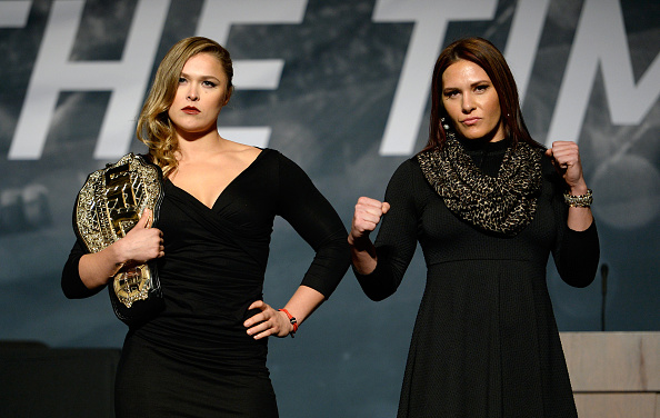 Rousey and Zingano at The Time is Now presser