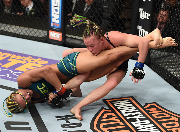 LAS VEGAS, NEVADA - DECEMBER 12: (L-R) Felice Herrig attempts to submit Lisa Ellis in their strawweight fight during The Ultimate Fighter Finale event inside the Pearl concert theater at the Palms Casino Resort on December 12, 2014 in Las Vegas, Nevada. (Photo by Jeff Bottari/Zuffa LLC/Zuffa LLC via Getty Images)