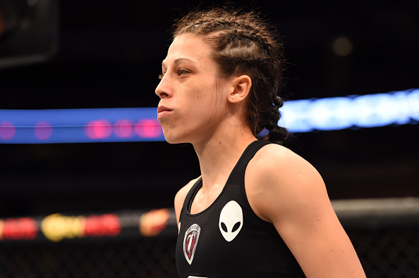 Joanna Jedrzejczyk stands in her corner before facing UFC strawweight champion Carla Esparza in their UFC women's strawweight championship bout during the UFC 185 event at the American Airlines Center on March 14, 2015 in Dallas, Texas. (Photo by Josh Hedges/Zuffa LLC)