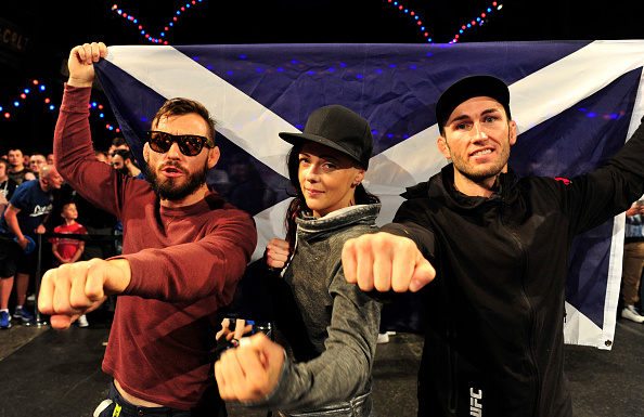 (L-R) Rob Whiteford, Joanne Calderwood and Stevie Ray during the UFC Ultimate Media day and Open Workouts at Glasgow's Old Fruitmarket on July 15, 2015 in Glasgow, Scotland. (Photo by Joey Kelly/Zuffa LLC)