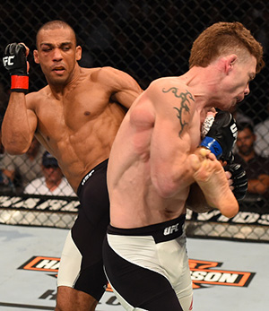 Edson Barboza of Brazil kicks Paul Felder in their lightweight bout during the UFC event at the United Center on July 25, 2015 in Chicago, IL. (Photo by Jeff Bottari/Zuffa LLC)