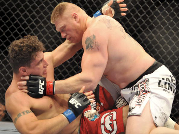 Lesnar mounts Mir