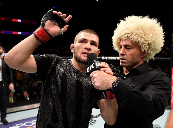 NEW YORK, NY - NOV. 12: Khabib Nurmagomedov of Russia is awarded victory by KO over Michael Johnson of the United States in their lightweight bout during the UFC 205 event at Madison Square Garden. (Photo by Jeff Bottari/Zuffa LLC)