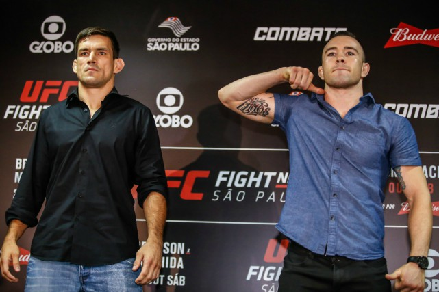 Demian Maia and Colby Covington pose at Sao Paulo Media Day before their welterweight bout on Saturday