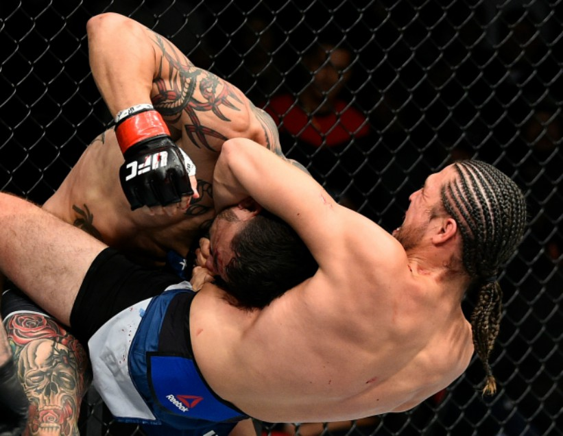 Brian Ortega attempts to submit Cub Swanson during the UFC Fight Night on December 9, 2017 in Fresno, CA. (Photo by Jeff Bottari/Zuffa LLC)