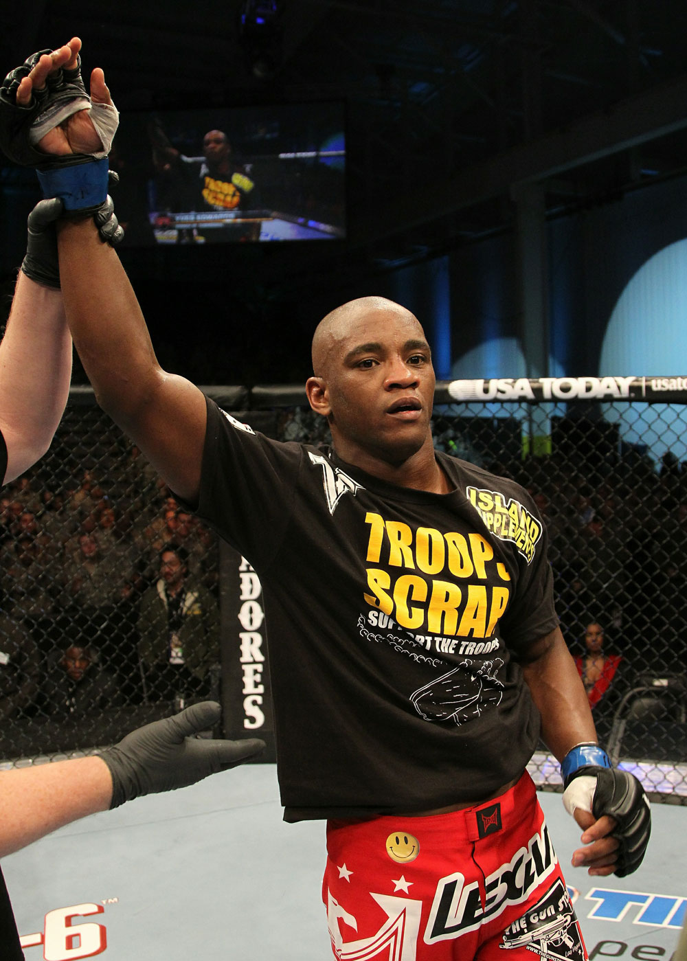 Yves Edwards celebrates his win over Cody McKenzie.
