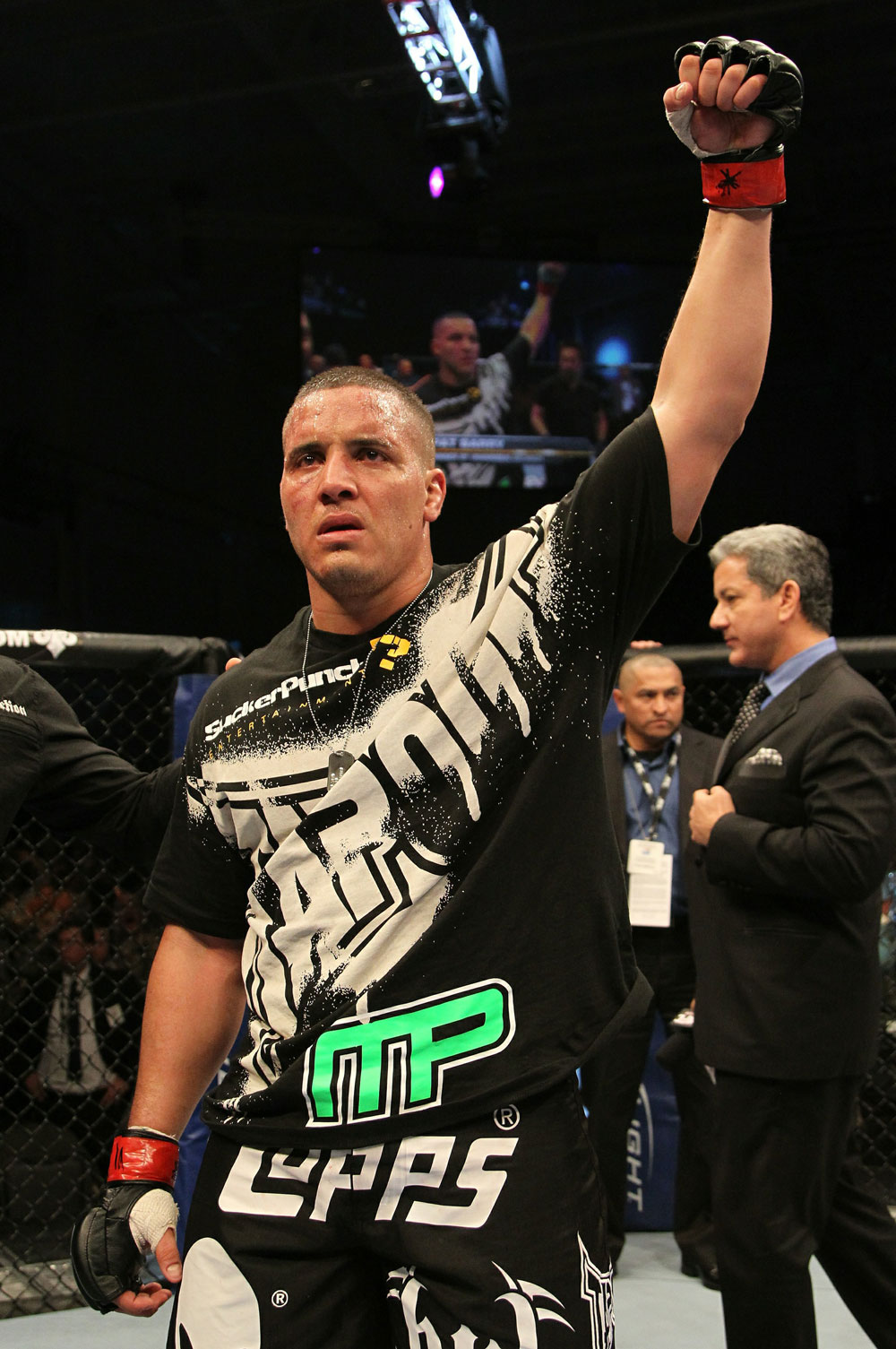Pat Barry celebrates his win over Joey Beltran.