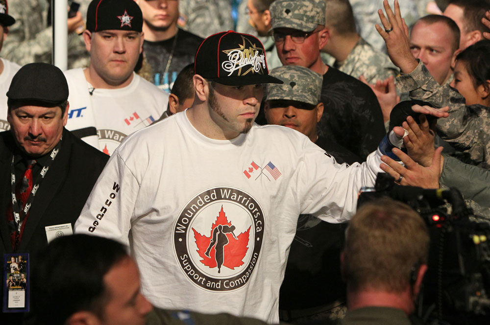 Tim Hague enters the arena.