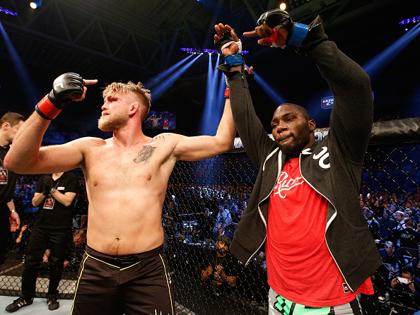Alexander Gustafsson and Anthony Johnson pose together after their bout at Fight Night Stockholm in 2015