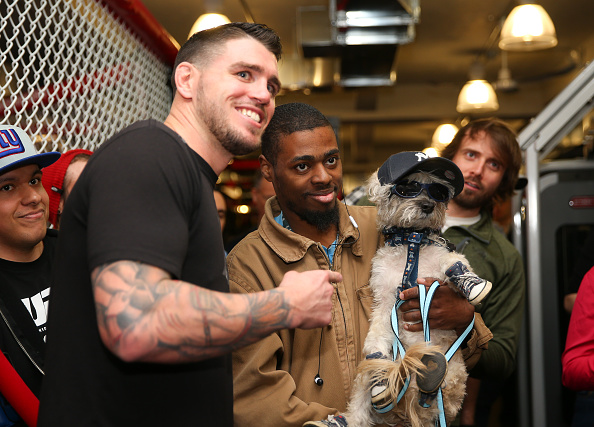 NEW YORK, NY - APRIL 15: Chris Camozzi signs autographs and takes pictures with assembled fans at the open workouts at the UFC Gym on April 15, 2015 in New York, New York. (Photo by Ed Mulholland/Zuffa LLC/Zuffa LLC via Getty Images)
