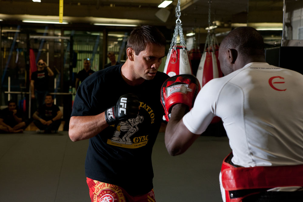 MACAO, CHINA - SEPTEMBER 6: Rich Franklin works out for the press and media at The Venetian® Macao-Resort-Hotel on September 6, 2012 in Macao, China. (Photo by Zuffa LLC)