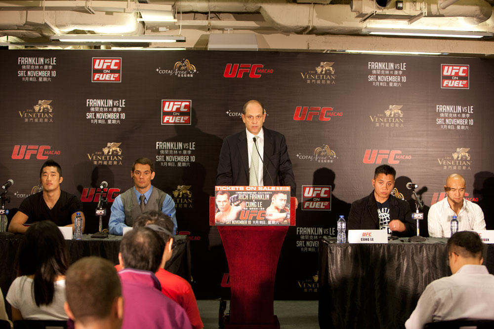 MACAO, CHINA - SEPTEMBER 6: The UFC announces UFC&reg; MACAO: FRANKLIN VS. LE at the CotaiArena&trade; at The Venetian&reg; Macao-Resort-Hotel on Saturday, November 10 during a press conference held on September 6, 2012 in Macao, China. (Photo by Zuffa LLC)