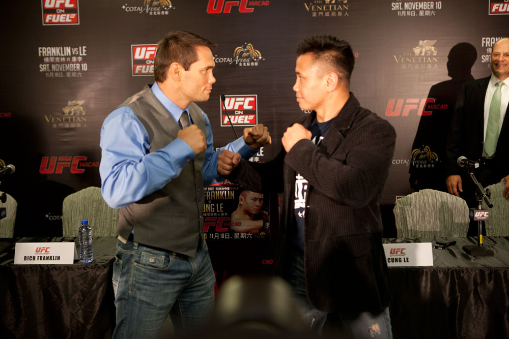 MACAO, CHINA - SEPTEMBER 6: Rich Franklin and Cung Le face off during a press conference at The Venetian&reg; Macao-Resort-Hotel on September 6, 2012 in Macao, China. (Photo by Zuffa LLC)
