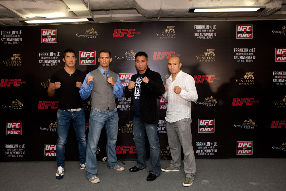 MACAO, CHINA - SEPTEMBER 6: The UFC announces UFC® MACAO: FRANKLIN VS. LE at the CotaiArena™ at The Venetian® Macao-Resort-Hotel in Macao on Saturday, November 10 during a press conference held on September 6, 2012 in Macao, China. (Photo by Zuffa LLC)
