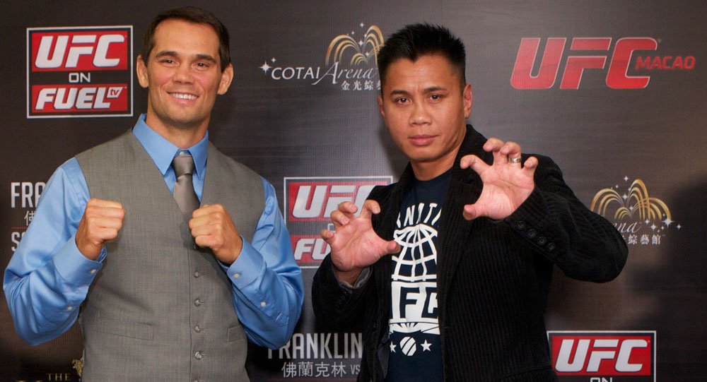 MACAO, CHINA - SEPTEMBER 6: Rich Franklin and Cung Le pose for press and media during a press conference at The Venetian&reg; Macao-Resort-Hotel on September 6, 2012 in Macao, China. (Photo by Zuffa LLC)