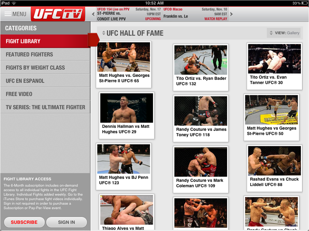 The UFC® Fight Library on the new UFC® iPad app.