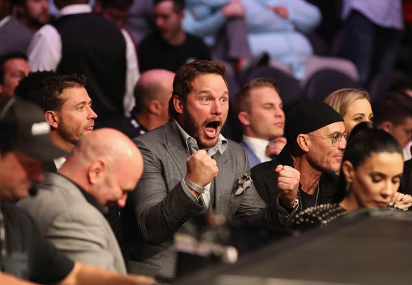 LAS VEGAS, NV - OCTOBER 06:  Actor Chris Pratt attends the UFC 229 event inside T-Mobile Arena on October 6, 2018 in Las Vegas, Nevada.  (Photo by Christian Petersen/Zuffa LLC)