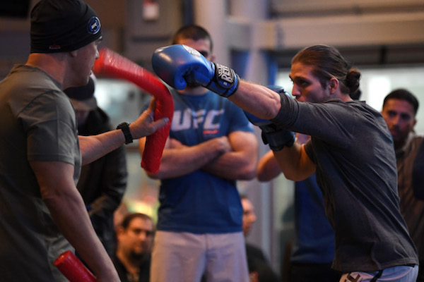 TORONTO, CANADA - DECEMBER 06:  <a href='../fighter/brian-ortega'>Brian Ortega</a> works out for fans and media during the UFC 231 Open Workouts at the Scotiabank Arena on December 6, 2018 in Toronto, Ontario, Canada. (Photo by Josh Hedges/Zuffa LLC/Zuffa LLC via Getty Images)