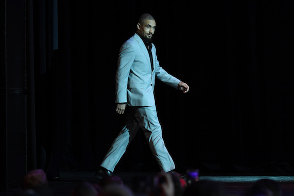 MELBOURNE, AUSTRALIA - FEBRUARY 8:  UFC middleweight champion <a href='../fighter/robert-whittaker'>Robert Whittaker</a> of Australia walks onstage during the UFC 234 Press Conference inside The Palms at Crown on February 8, 2019 in Melbourne, Australia. (Photo by Jeff Bottari/Zuffa LLC/Zuffa LLC via Getty Images)