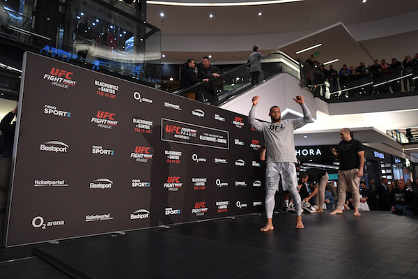 PRAGUE, CZECH REPUBLIC - FEBRUARY 20:  Thiago Santos of Brazil performs an open workout for fans and media during the UFC Fight Night Open Workouts event at Galerie Harfal on February 20, 2019 in Prague, Czech Republic. (Photo by Jeff Bottari/Zuffa LLC/Zuffa LLC via Getty Images)