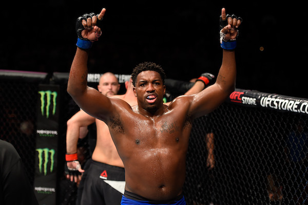 PORTLAND, OR - OCTOBER 01:  <a href='../fighter/walt-harris'>Walt Harris</a> throws his hands up after finihsing five rounds against <a href='../fighter/shamil-abdurakhimov'>Shamil Abdurakhimov</a> of Russia in their heavyweight bout during the <a href='../event/UFC-Silva-vs-Irvin'>UFC Fight Night </a>event at the Moda Center on October 1, 2016 in Portland, Oregon. (Photo by Josh Hedges/Zuffa LLC/Zuffa LLC via Getty Images)