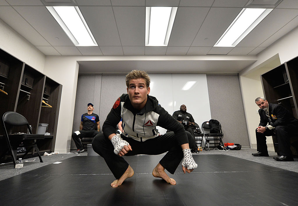 SACRAMENTO, CA - DECEMBER 17: Sage Northcutt warms up backstage during the <a href='../event/UFC-Silva-vs-Irvin'>UFC Fight Night </a>event inside the Golden 1 Center Arena on December 17, 2016 in Sacramento, California. (Photo by Brandon Magnus/Zuffa LLC)