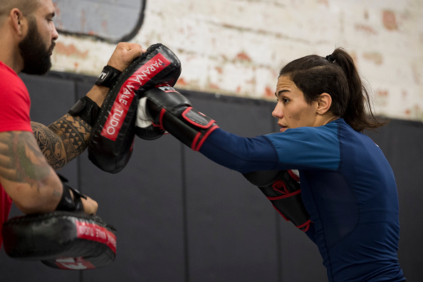 Jessica Andrade holds an open workout for the fans and media at Mohler MMA - Brazilian Jiu-Jitsu & Boxing on May 11, 2017 in Dallas, Texas. (Photo by Cooper Neill/Zuffa LLC)