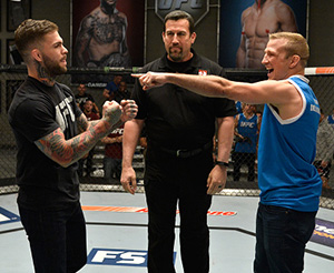 UFC bantamweight champion Cody Garbrandt and TJ Dillashaw face off during the filming of <a href='../event/Ultimate-Fighter-Team-Serra-vs-Team-Hughes-Finale'><a href='../event/The-Ultimate-Fighter-Team-US-vs-Team-UK-FINALE'><a href='../event/The-Ultimate-Fighter-Heavyweights-FINALE'>The Ultimate Fighter:</a></a></a> Redemption at the UFC TUF Gym on March1, 2017 in Las Vegas, Nevada. (Photo by Brandon Magnus/Zuffa LLC)