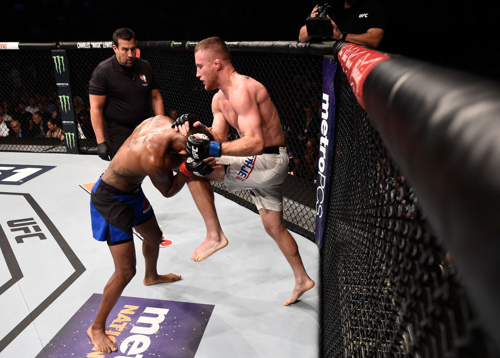 LAS VEGAS, NV - JULY 07:  (R-L) Justin Gaethje knees Michael Johnson after their lightweight bout during The Ultimate Fighter Finale at T-Mobile Arena on July 7, 2017 in Las Vegas, Nevada.  (Photo by Brandon Magnus/Zuffa LLC)