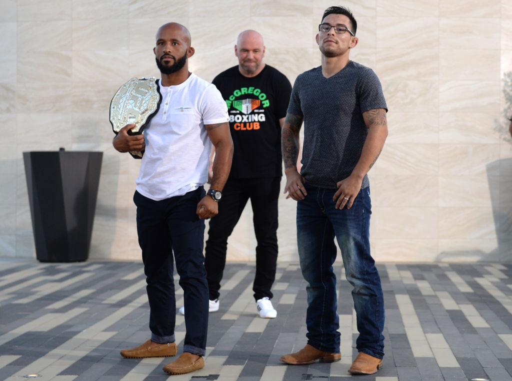 (L-R) UFC flyweight champion Demetrious Johnson and Ray Borg pose during the UFC 215 & UFC 216 Title Bout Participants Las Vegas Media Day at the UFC Headquarters on August 24, 2017 in Las Vegas, Nevada. (Photo by Brandon Magnus/Zuffa LLC)