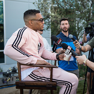 Kevin Lee speaks to the media during the UFC 215 & UFC 216 Title Bout Participants Las Vegas Media Day at the UFC Headquarters on August 24, 2017 in Las Vegas, Nevada. (Photo by Brandon Magnus/Zuffa LLC)