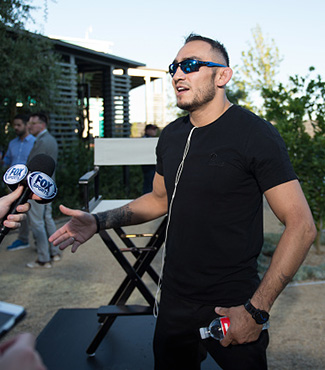 Tony Ferguson speaks to the media during the UFC 215 & UFC 216 Title Bout Participants Las Vegas Media Day at the UFC Headquarters on August 24, 2017 in Las Vegas, Nevada. (Photo by Brandon Magnus/Zuffa LLC)