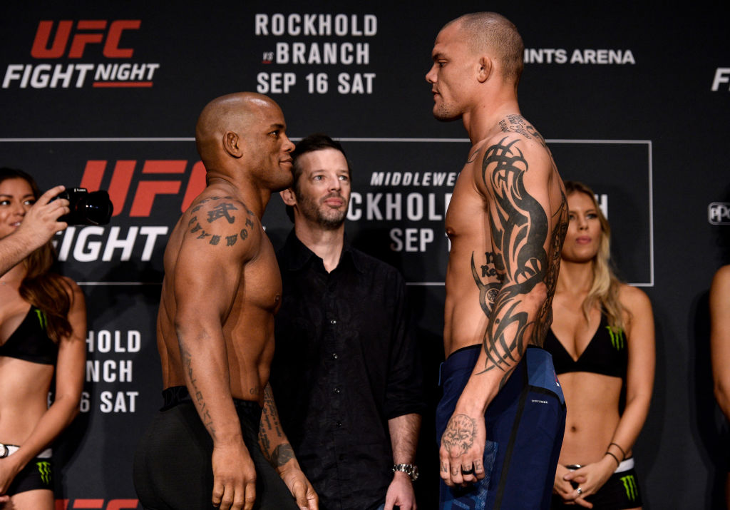 (L-R) <a href='../fighter/Hector-Lombard'>Hector Lombard</a> of Cuba and <a href='../fighter/Anthony-Smith'>Anthony Smith</a> face off during the <a href='../event/UFC-Silva-vs-Irvin'>UFC Fight Night </a>Weigh-in on September 15, 2017 in Pittsburgh, PA. (Photo by Brandon Magnus/Zuffa LLC)