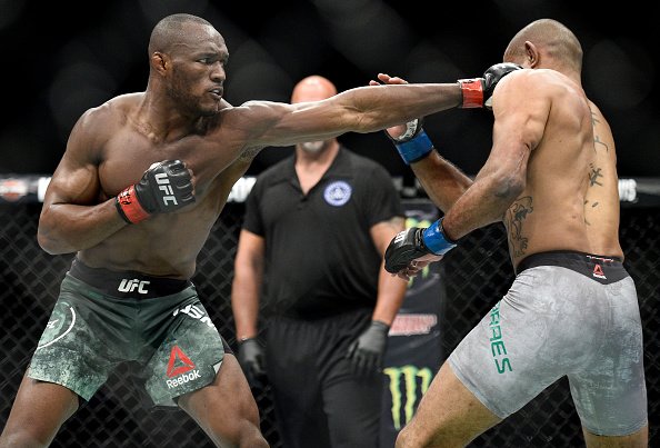 (L-R) Kamaru Usman of Nigeria punches Sergio Moraes of Brasil in their welterweight bout during the UFC Fight Night event inside the PPG Paints Arena on September 16, 2017 in Pittsburgh, Pennsylvania. (Photo by Brandon Magnus/Zuffa LLC)