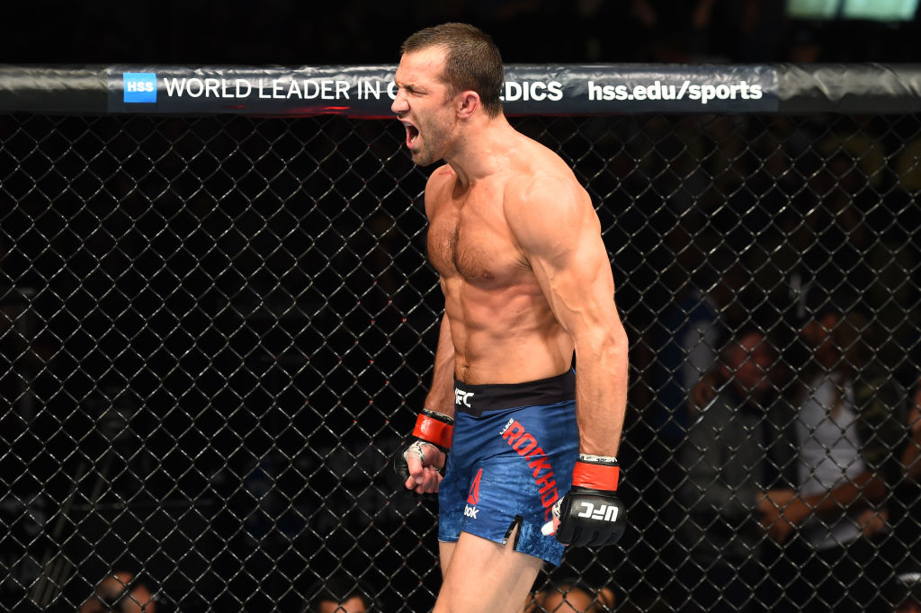 Luke Rockhold celebrates after defeating David Branch in their middleweight bout during the UFC Fight Night event inside the PPG Paints Arena on September 16, 2017 in Pittsburgh, Pennsylvania. (Photo by Josh Hedges/Zuffa LLC)