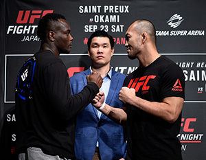 (L-R) Ovince Saint Preux and Yushin Okami of Japan face off for the media during the UFC Ultimate Media Day at the Park Hyatt on September 20, 2017 in Tokyo, Japan. (Photo by Jeff Bottari/Zuffa LLC)