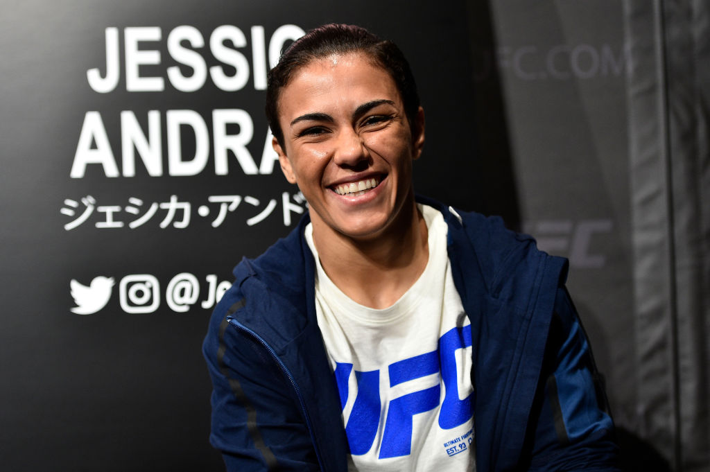 UFC women's strawweight <a href='../fighter/Jessica-Andrade'>Jessica Andrade</a> of Brazil interacts with the media during the UFC <a href='../event/Ultimate-Brazil'>Ultimate </a>Media Day at the Park Hyatt on 9/20/17  in Tokyo, Japan. (Photo by Jeff Bottari/Zuffa LLC)