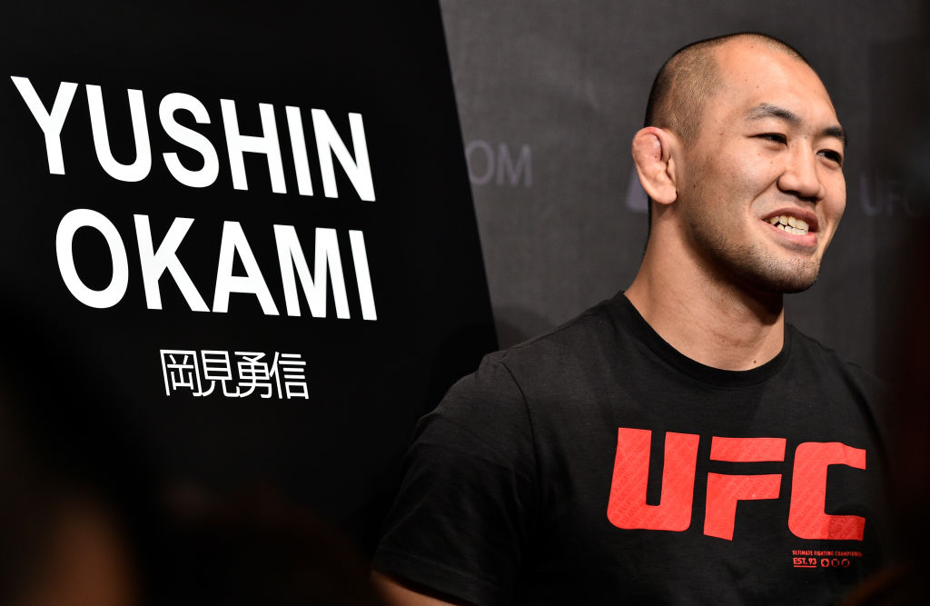 <a href='../fighter/Yushin-Okami'>Yushin Okami</a> of Japan interacts with the media during the UFC <a href='../event/Ultimate-Brazil'>Ultimate </a>Media Day at the Park Hyatt on September 20, 2017 in Tokyo, Japan. (Photo by Jeff Bottari/Zuffa LLC)