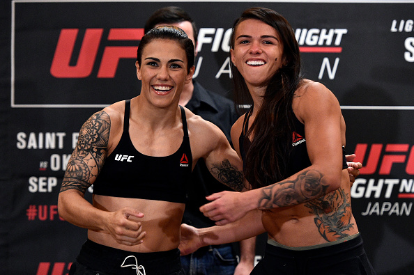 (R-L) Opponents Claudia Gadelha of Brazil and Jessica Andrade of Brazil face off during the UFC Fight Night Weigh-in at the Hilton Tokyo on Sept. 21, 2017 in Tokyo, Japan. (Photo by Jeff Bottari/Zuffa LLC)