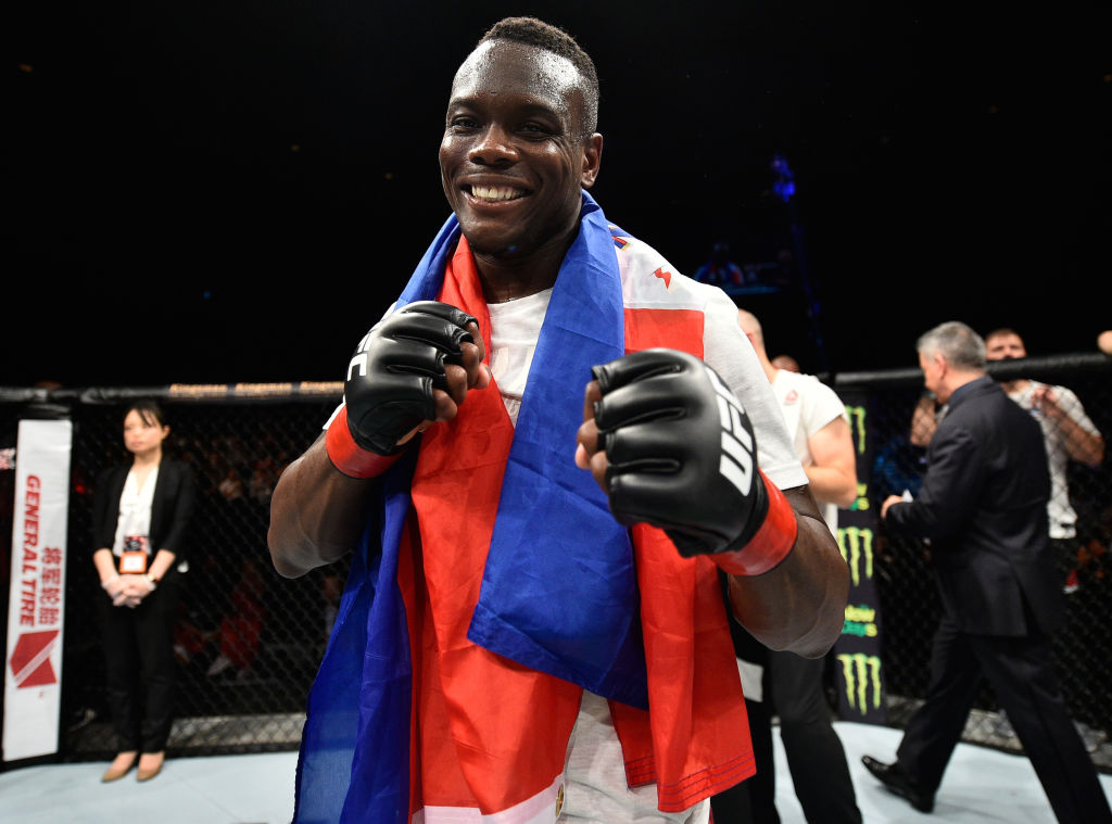 <a href='../fighter/Ovince-St-Preux'>Ovince Saint Preux</a> celebrates his submission victory over <a href='../fighter/Yushin-Okami'>Yushin Okami</a> of Japan in their light heavyweight bout during the <a href='../event/UFC-Silva-vs-Irvin'>UFC Fight Night </a>event inside the Saitama Super Arena on September 22, 2017 in Saitama, Japan. (Photo by Jeff Bottari/Zuffa LLC)
