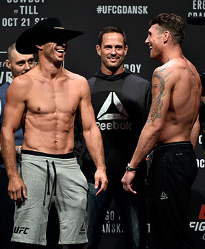 (L-R) Opponents Donald Cerrone and Darren Till of England face off during the UFC Fight Night Weigh-in inside Ergo Arena on October 20, 2017 in Gdansk, Poland. (Photo by Jeff Bottari/Zuffa LLC)